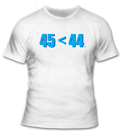 45<44 in Blue T-Shirt