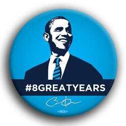 "8 Great Years 3"" Button"