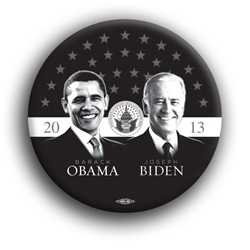 "Obama and Biden Grayscale 3"" Button"