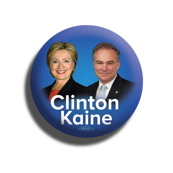 Clinton and Kaine 2016 Photo Button