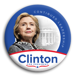 Continued Leadership Clinton for President Photo Button