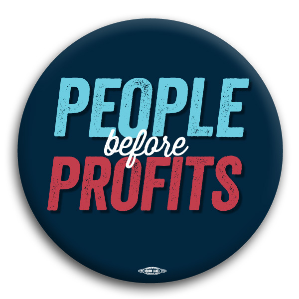 "People Before Profits 3"" Button (Navy)"