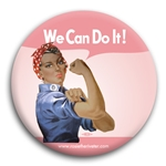 We Can Do It! Ethnic Pink Rosie the Riveter Button