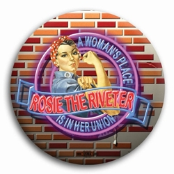 Rosie the Riveter Neon Button