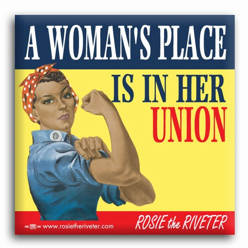 "A Woman's Place... Ethnic Rosie the Riveter 2"" Square Button"