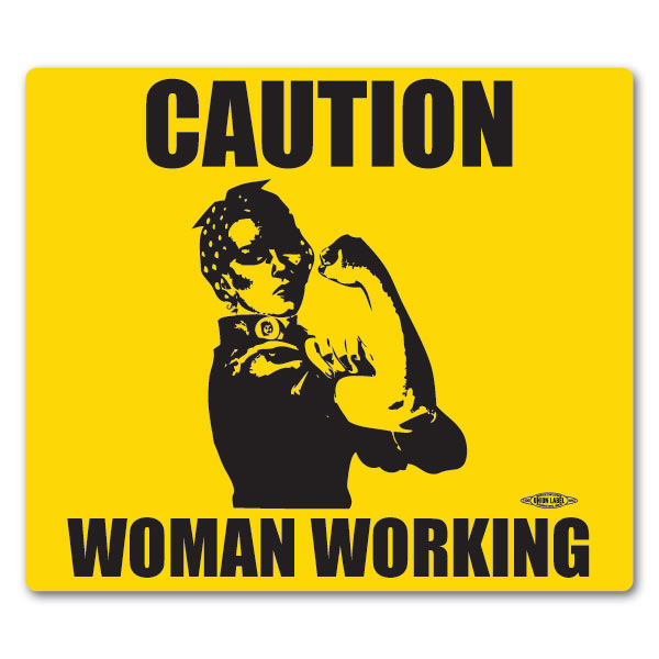 Caution Woman Working Rosie the Riveter Mouse Pad