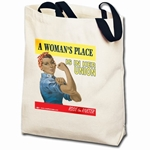 A Woman's Place... Ethnic Rosie the Riveter Totebag