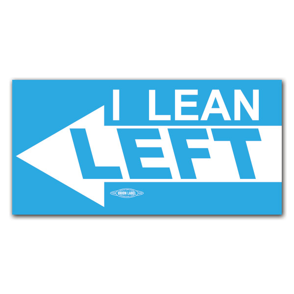 I lean left democratic bumper sticker