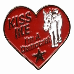 Kiss Me Im a Democrat Lapel Pin