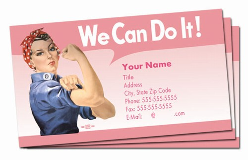 we can do it pink rosie business cards bc15390. Black Bedroom Furniture Sets. Home Design Ideas