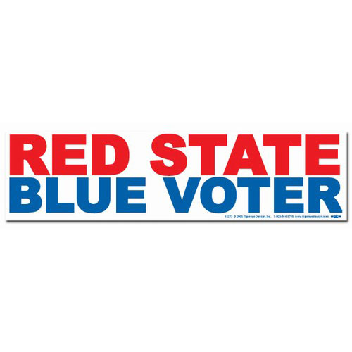 Red State Blue Voter Bumper Sticker