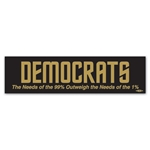 Democrats the Needs of the 99 Percent Outweigh Bumper Sticker