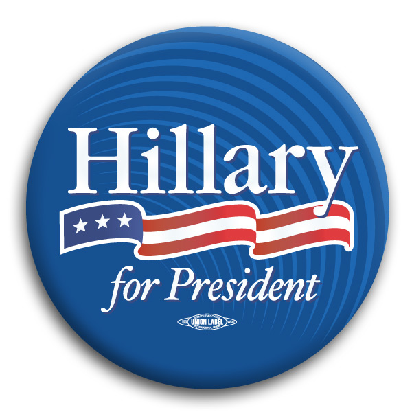 hillary clinton for president logo 3 button bt53023