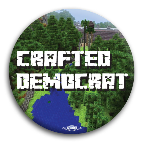 Crafted Democrat Minecraft Inspired Button