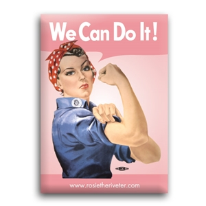 We Can Do It! Pink Rosie the Riveter Button