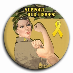 Support Our Troops! Rosie the Riveter Button