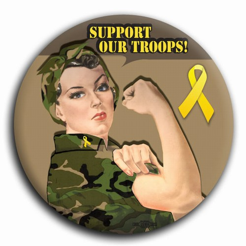 Support Our Troops! Camo Rosie the Riveter Button