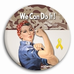 We Can Do It! Camo Rosie the Riveter Button