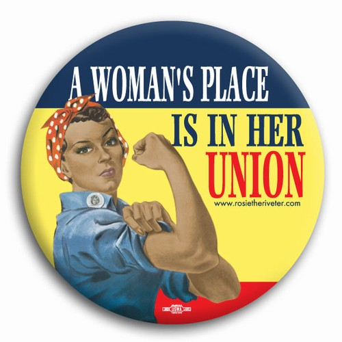 A Woman's Place... Ethnic Rosie the Riveter Button
