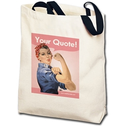 Personalized Pink Rosie the Riveter Totebag